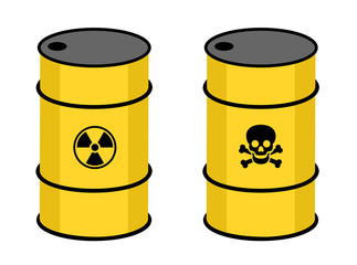Barrel with radioactive and toxic substance. Symbol of radioactivity and toxicity on the yellow container. Nuclear and atomic waste or chemical product. Vector illustration