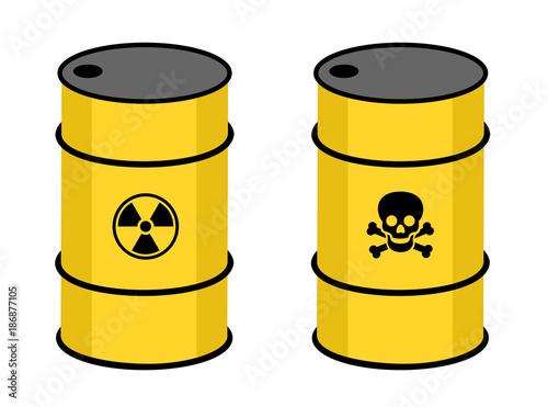 Barrel With Radioactive And Toxic Substance Symbol Of Radioactivity