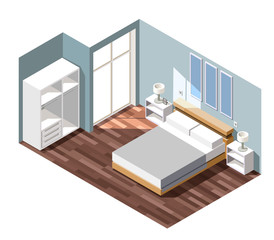 Bedroom Interior Isometric Composition
