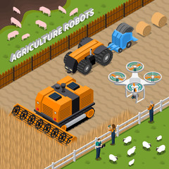 Farming Robots Isometric Composition