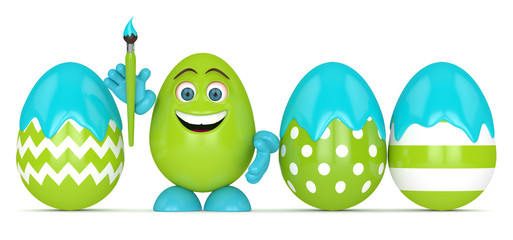 3d render of Easter cartoon egg with paintbrush