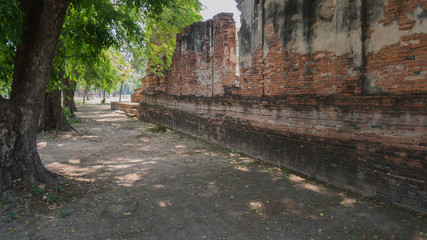 Foto op Canvas Wand Ancient wall of temple (Generality in Thailand,any kind of art decorated in Buddhist church)