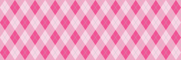 Pink Argyle Background Banner