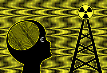 Child exposed to Radiation. Electromagnetic waves of cellular phone towers affect the brain of kids and teens