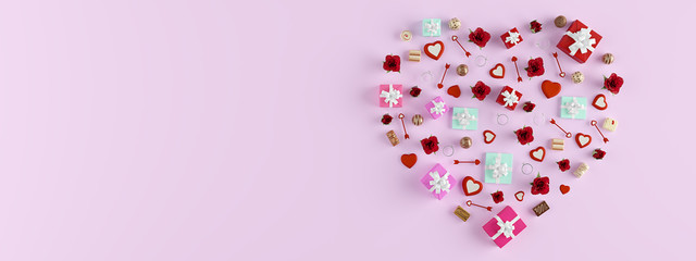 3d rendering. shape of a heart with lots of presents. valentines day