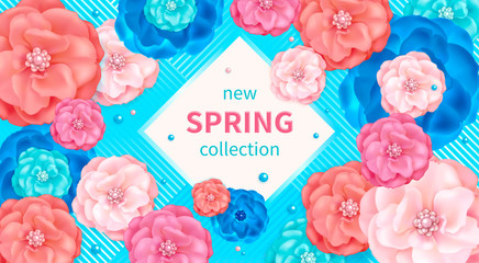 Spring background with pink, blue and turquoise decorative flowers. Design for greeting cards, calendars, banners, posters, invitations.