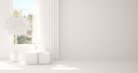 White empty room with table and grey flower. Scandinavian interior design. 3D illustration