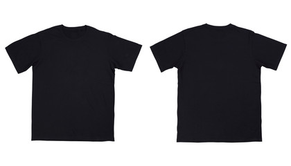 Front and back view black t-shirt on white background