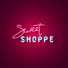 Sweet shoppe neon sign. Neon sign, bright signboard, light banner. Vector icon
