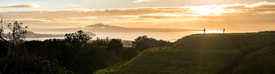 Auckland city in the mist, a view from Mt Eden