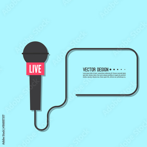 Journalism Concept Live News Template With Microphone Symbol