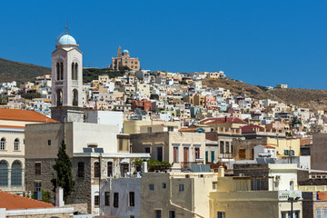 Panoramic view to City of Ermopoli, Syros, Cyclades Islands, Greece