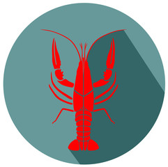 crayfish red flat design icon vector eps 10