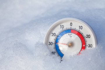 Snowed thermometer shows minus 29 Celsius degree extreme cold winter weather concept