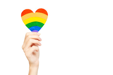the LGBT community. Heart rainbow colors in hand on a white background