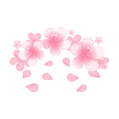 Light Pink flowers and flying petals isolated on White background. Apple-tree flowers. Cherry blossom. Vector