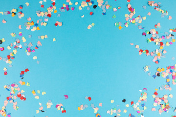 blue background frame with confetti