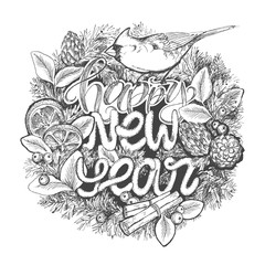 New Year typographic poster. Wreath with lettering Happy New Year and bird, orange, cinnamon, pine cone. Winter concept. Holiday concept. Vector design