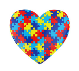 Puzzle Heart Autism Awareness Isolated