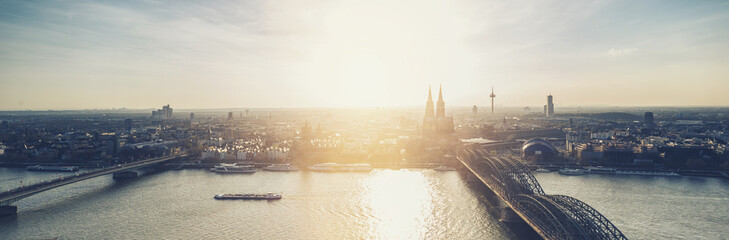 Cologne Skyline panorama at dusk