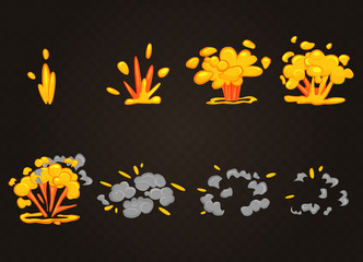 Vector front cartoon boom explosion effect with smoke. Smooth flash bomb explode animation for game.