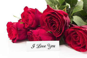 I Love You Card with Bouquet of Red Roses