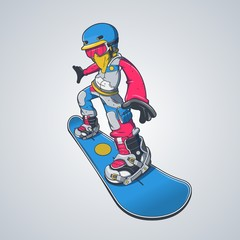 colorful character on a snowboard