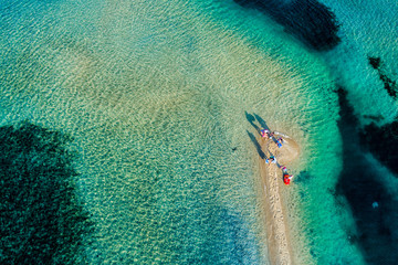 Aerial view of the beautiful Karidi beach in the Vourvourou of Chalkidiki