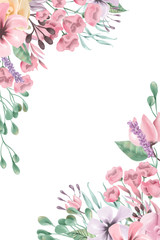 Beautiful watercolor flowers, floral corners, frame, border, bouquet