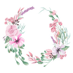 Beautiful watercolor flowers, floral wreath, round, circle frame, border, bouquet