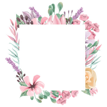 Beautiful watercolor flowers, floral wreath, square frame, border, bouquet
