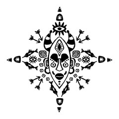 Hand drawn vector pattern with Tribal mask ethnic. Sketch for your design, wallaper, textile, print. African culture. Fabric afro ornament. batik art. Black colors on white . Card.