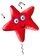 Funny red singing star