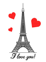 Eiffel tower on a white background with red hearts and the message I love you.