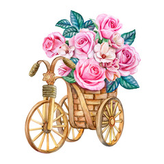 Bouquet of roses in a basket. Bridal bouquet. Pink flowers. Watercolor. Illustration. Template.