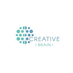 Circles, abstract logo. Creative brain vector logotype. New technology illustration. Innovation idea icon.