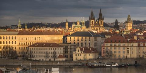View of Prague Old Town from Lesser Town Bridge Tower, Prague, Czech Republic