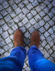 Top view from Young man with leather shoes and jeans. Classic shoes