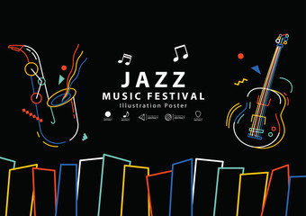 Jazz music festival banner poster A4 illustration vector. Music concept.