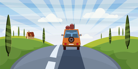 Highway travel summer, road, car, cute landscape, cartoon style, vector, illustration, isolated