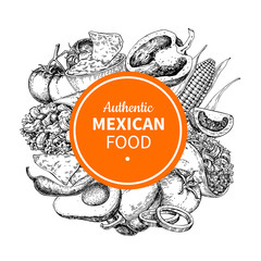 Mexican food sketch label in frame. Traditional cuisines drawing