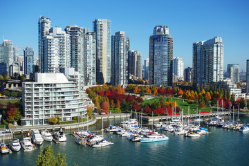 Autumn landscape of false creek in Vancouver downtown, BC, Canada Fotomurales