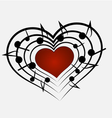 Talented music and heart shape icon