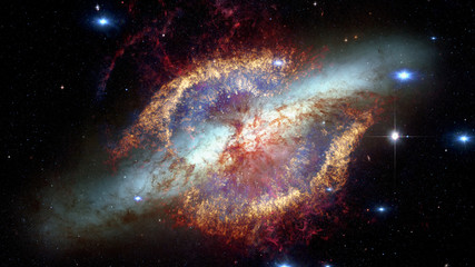 Fiery explosion in space. Elements of this image furnished by NASA
