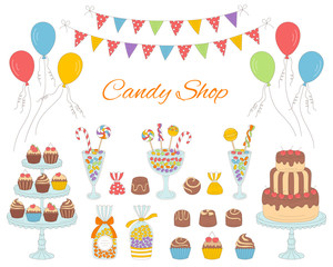 Vector illustration of candy shop, hand drawn doodle style.