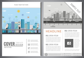 Brochure design template with urban landscape. Leaflet cover presentation with flat city landscape background. Layout in A4 size. Vector