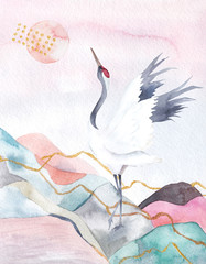 Abstract watercolor background with crane. Japan design. Hand drawn illustration