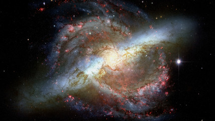 Awesome spiral galaxy in space. Elements furnished by NASA