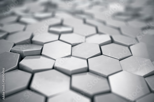 Silver abstract hexagonal background with depth of field effect ...