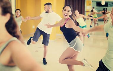 People practicing vigorous lindy hop